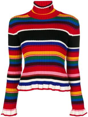 MSGM ruffled striped rollneck jumper