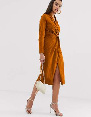 Asos Design DESIGN midi wrap front shirt dress in slub