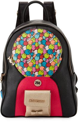 Betsey Johnson Bubble Gum Faux-Leather Backpack, Black/Multi $115 thestylecure.com