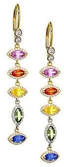 Meira T 14K Yellow Gold, Diamond & Rainbow Sapphire Drop Earrings