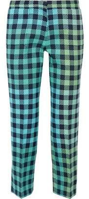 Victoria Beckham Victoria Cropped Gingham Wool-Blend Straight-Leg Pants