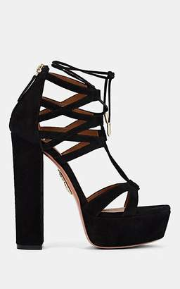 Aquazzura WOMEN'S BEVERLY HILLS SUEDE ANKLE-TIE PLATFORM SANDALS - BLACK SIZE 9.5