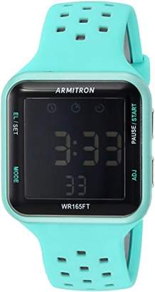 Armitron Sport Unisex 40/8417LBL Grey Accented Digital Chronograph Perforated Silicone Strap Watch