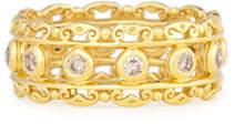 Konstantino Flamenco 18K Diamond Scroll Ring, Size 7