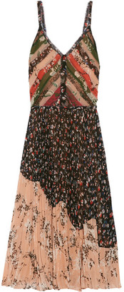 Jason Wu - Pleated Printed Crinkled-chiffon Dress - Black $2,995 thestylecure.com