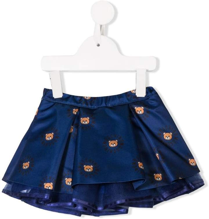 Moschino Kids teddy logo satin skirt