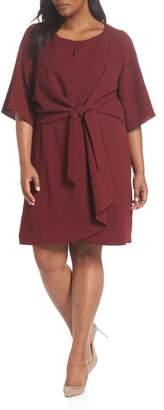 Tahari Short Sleeve Crepe Shift Dress