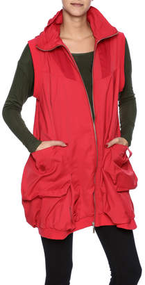 Red Hooded Bubble Vest