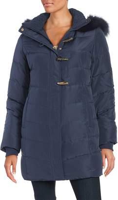 Ellen Tracy Women's Fox Fur-Trimmed Puffer Coat