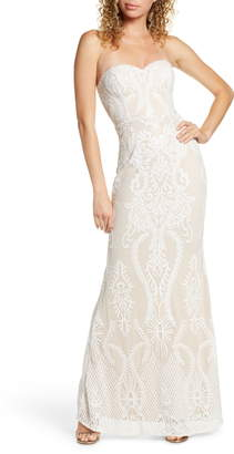 LuLu*s You Belong With Me Strapless Embroidered Mesh Evening Gown