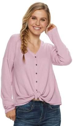 Mudd Juniors' Waffle-Knit Button Front Long Sleeve Top