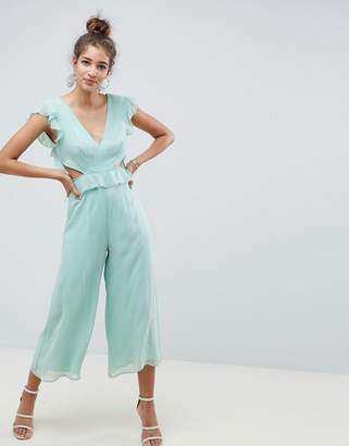 Asos Design Cut Out Jumpsuit With Soft Ruffles