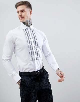 Moss Bros Extra Slim Ruffle Shirt In White