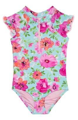 Hula Star Princess Floral One-Piece Rashguard Swimsuit