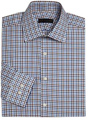 Ike Behar IKE by Men's Long Sleeve Checkered Dress Shirt
