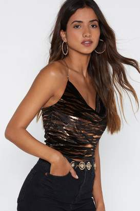 Nasty Gal Taming the Tiger Glitter Top