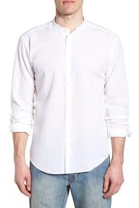 Bugatchi Shaped Fit Band Collar Seersucker Sport Shirt