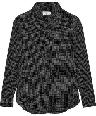 Saint Laurent Polka-dot Silk Crepe De Chine Shirt - Black