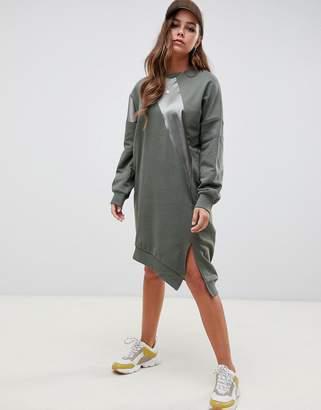 Asos Design DESIGN oversized patchwork sweat dress with asymmetric hem