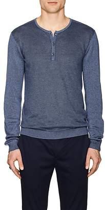 John Varvatos Men's Mixed-Knit Cotton-Blend Henley