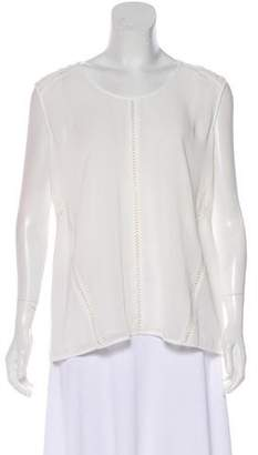 Andrew Marc Faux Leather-Accented Top w/ Tags