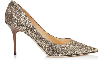 Jimmy Choo AGNES Antique Gold Shadow Coarse Glitter Fabric Pointy Toe Pumps