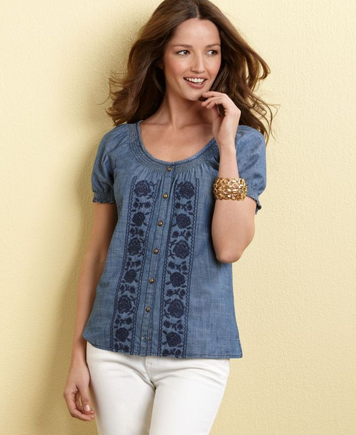 Charter Club Top, Cap Sleeve Embroidered Denim