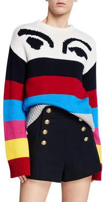 Derek Lam 10 Crosby Striped Graphic Crewneck Pullover Sweater