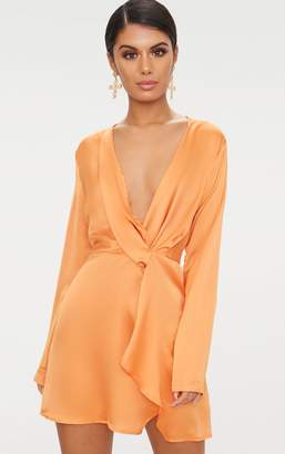 PrettyLittleThing Tangerine Satin Long Sleeve Wrap Dress