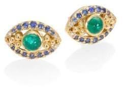 Temple St. Clair Evil Eye Diamond, Emerald, Blue Sapphire& 18K Yellow Gold Stud Earrings