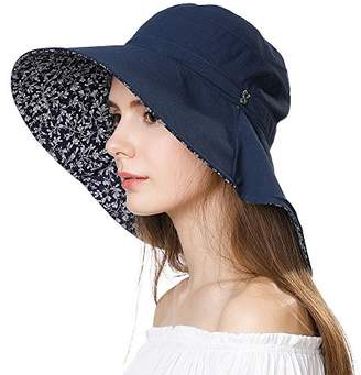 3932d58874f965 Jeff & Aimy Ladies Sun Hat Packable UV Protection Cotton Bucket Hat for Beach  Large Brim