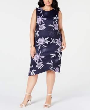 Vince Camuto Trendy Plus Size Floral-Print Sheath Dress