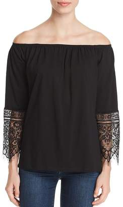 Sioni Lace-Cuff Off-the-Shoulder Top