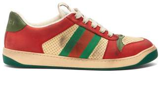 Gucci Virtus Low Top Distressed Leather Trainers - Mens - Red Multi