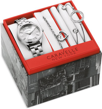 Caravelle New York by Bulova Women's Stainless Steel Bracelet Watch with Three Bracelets Box Set 30mm 43X101 $135 thestylecure.com