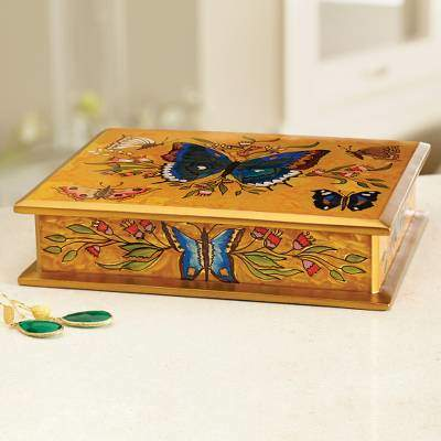 Butterfly Court Reverse Painted Glass on Wood Jewelry Box with Butterflies