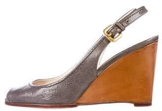Prada Leather Slingback Wedges