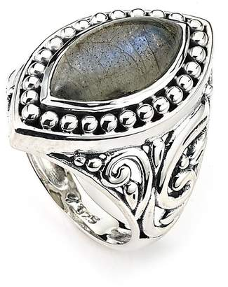 Samuel B Jewelry Sterling Silver Bezel Set Labradorite Marquise Shape Filigree Shank Ring