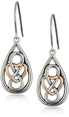Celtic 14k Rose Gold Plated Sterling Silver Two Tone Infinity Heart Knot Teardrop Dangle Earrings