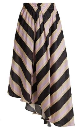 Apiece Apart Turkanna Striped Silk And Linen Blend Skirt - Womens - Purple Stripe