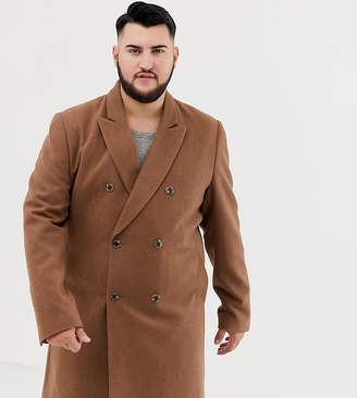Asos DESIGN Plus wool mix double breasted overcoat in dark camel