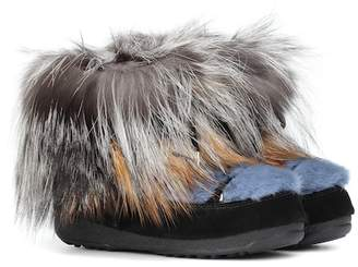 Yves Salomon x Moon Boot® mink fur ankle boots