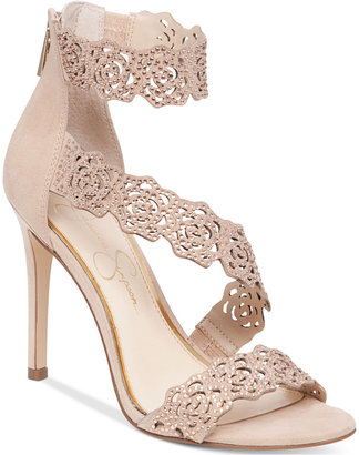 Jessica Simpson Geela Asymetrical Lace Sandals $110 thestylecure.com
