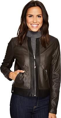 Via Spiga Women's Collarless Two Tone Front Zip Leather Jacket