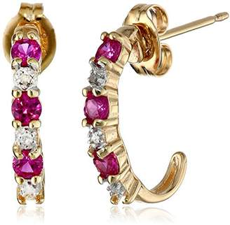 18k Yellow Gold Plated Sterling Silver Created Ruby and Diamond Accent C-Hoop Earrings