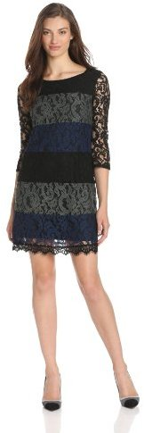 Ella Moss Women's Victoria Lace Colorblock Bell Sleeve Dress