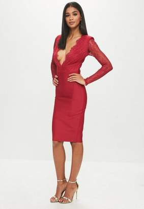 Missguided Red Lace Plunge Bandage Midi Dress