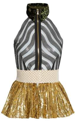 Sophie Theallet Mari Sleeveless Fil Coupe Silk Blend Tulle Top - Womens - Gold Multi
