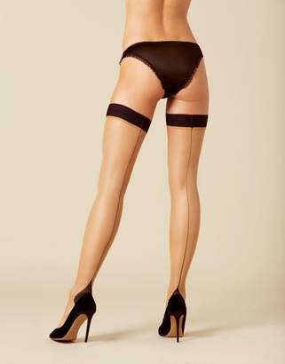 Agent Provocateur Amber Hold Up In Champagne And Black With Seam