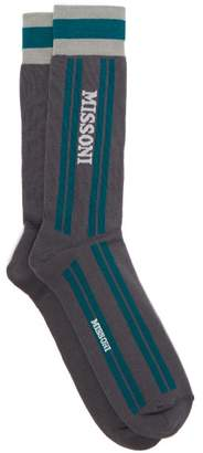 Missoni Intarsia Stripe And Logo Cotton Socks - Mens - Grey Multi